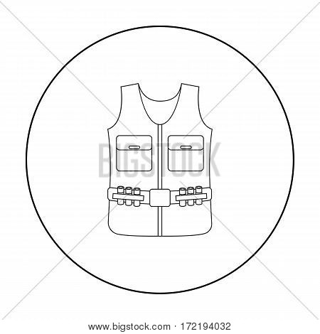 Hunting vest icon in outline style isolated on white background. Hunting symbol vector illustration.