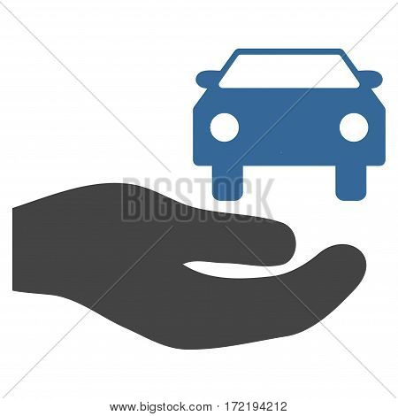 Car Gift Hand flat icon. Vector bicolor cobalt and gray symbol. Pictograph is isolated on a white background. Trendy flat style illustration for web site design logo ads apps user interface.