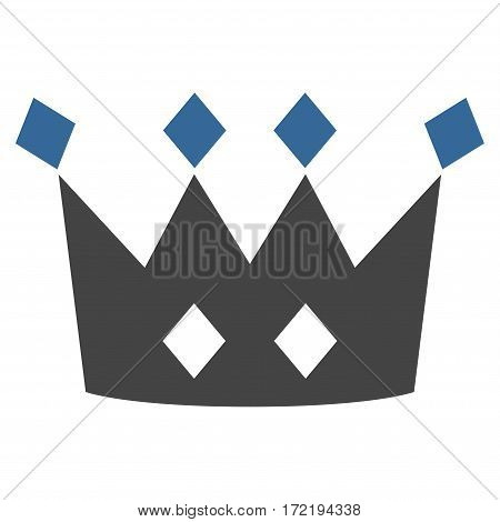 Crown flat icon. Vector bicolor cobalt and gray symbol. Pictograph is isolated on a white background. Trendy flat style illustration for web site design logo ads apps user interface.
