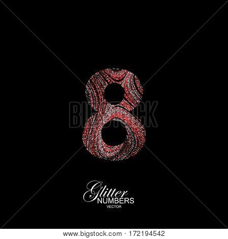 Number 8 of red and silver glitters. Typographic vector element for design. Part of curly textured alphabet with shiny paillettes. Digit eight with diffusion glitter swirly pattern. Vector illustration