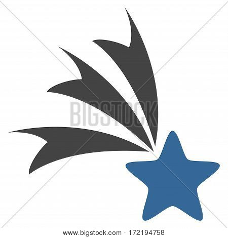 Falling Star flat icon. Vector bicolor cobalt and gray symbol. Pictograph is isolated on a white background. Trendy flat style illustration for web site design logo ads apps user interface.