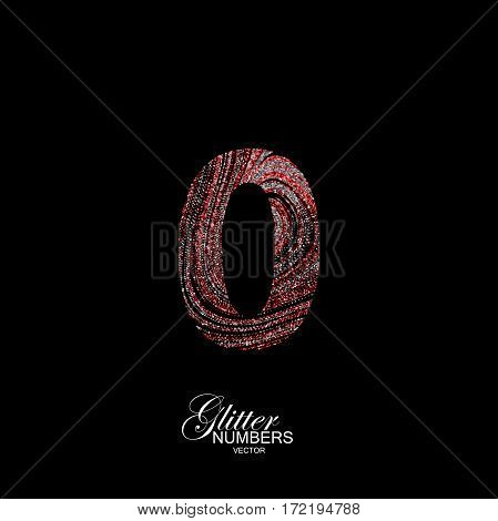 Number 0 of red and silver glitters. Typographic vector element for design. Part of curly textured alphabet with shiny paillettes. Digit zero with diffusion glitter swirly pattern. Vector illustration