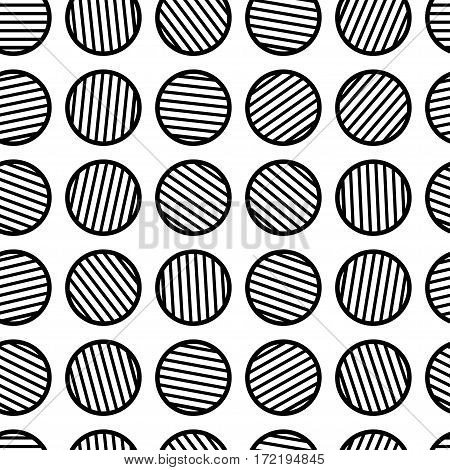 Abstract geometric seamless pattern. Circles with lines inside. Vintage style black and white vector illustration. Clipping mask used.