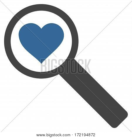 Find Love flat icon. Vector bicolor cobalt and gray symbol. Pictogram is isolated on a white background. Trendy flat style illustration for web site design logo ads apps user interface.