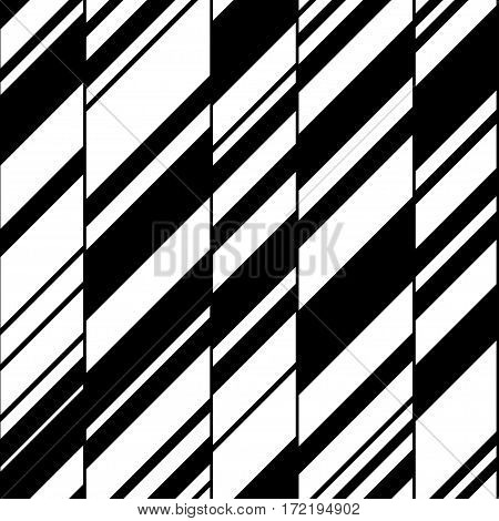 Modern black and white seamless pattern. Urban shapes - walls and windows. Vector illustration. Clipping mask used.