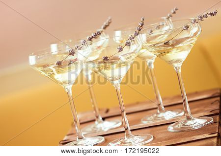 Glasses Of With White Champagne Decorated With Lavender