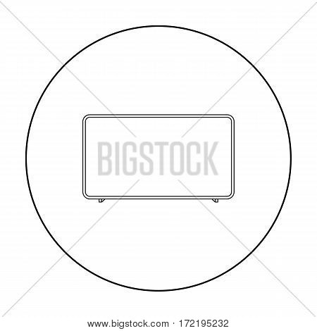 LCD television icon in outline style isolated on white background. Household appliance symbol vector illustration.