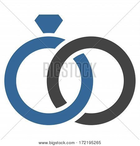 Gem Rings flat icon. Vector bicolor cobalt and gray symbol. Pictogram is isolated on a white background. Trendy flat style illustration for web site design logo ads apps user interface.