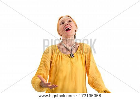 Senior woman singing. Old lady on white background. Power of voice.