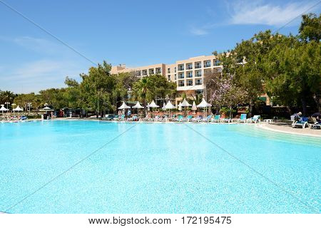 ANTALYA TURKEY - APRIL 20: The tourists enjoing their vacation in luxury hotel on April 20 2014 in Antalya Turkey. More then 36 mln tourists have visited Turkey in year 2014