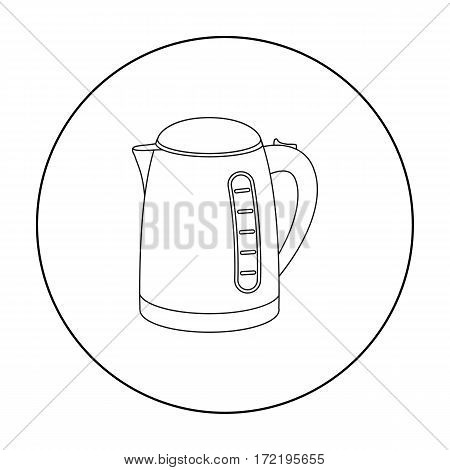 Electrical kettle icon in outline style isolated on white background. Household appliance symbol vector illustration.