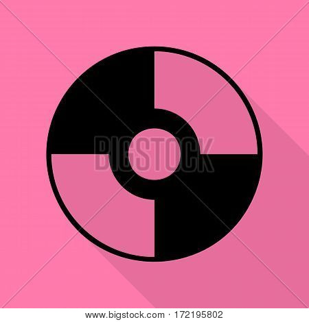 Vector CD or DVD sign. Black icon with flat style shadow path on pink background.