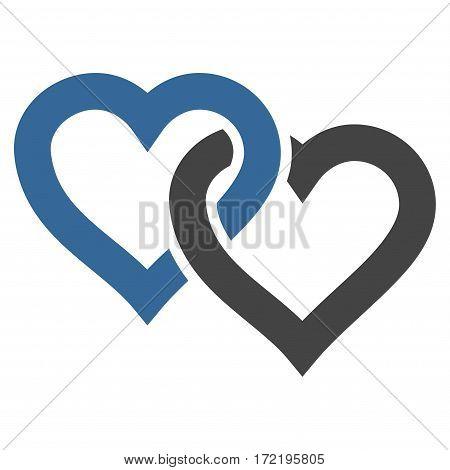 Linked Hearts flat icon. Vector bicolor cobalt and gray symbol. Pictogram is isolated on a white background. Trendy flat style illustration for web site design logo ads apps user interface.