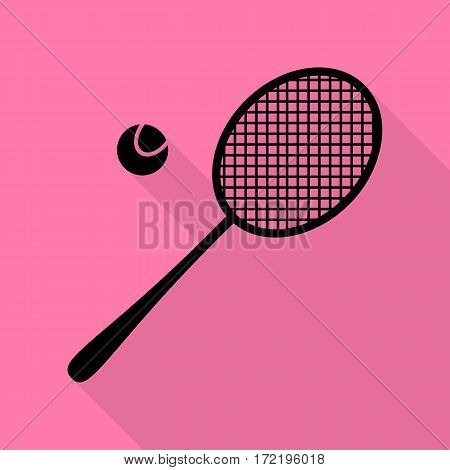 Tennis racquet sign. Black icon with flat style shadow path on pink background.