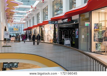 DUISBURG GERMANY - DECEMBER 17 2016: Unknown people in modern shopping mall 'Konigsgalerie' in Duisburg Germany