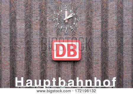 DUISBURG GERMANY - DECEMBER 17 2016: Brickstone facade main station of Duisburg in Germany
