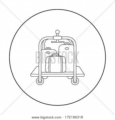 Luggage cart icon in outline style isolated on white background. Hotel symbol vector illustration.