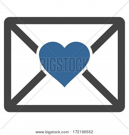 Love Letter flat icon. Vector bicolor cobalt and gray symbol. Pictograph is isolated on a white background. Trendy flat style illustration for web site design logo ads apps user interface.