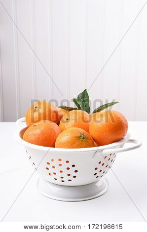 Closeup of a white colander filled with fresh picked mandarin oranges.