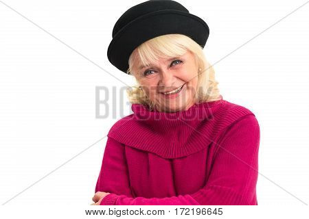 Senior lady laughing isolated. Cheerful female on white background. Convey pure emotion.