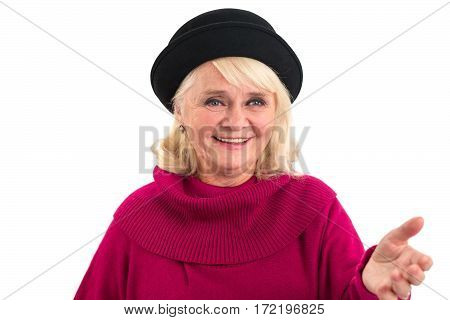 Senior female smiling. Friendly lady on white background.