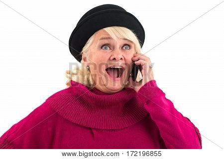 Surprised woman with cellphone. Senior woman with opened mouth. Lowest prices for international calls.