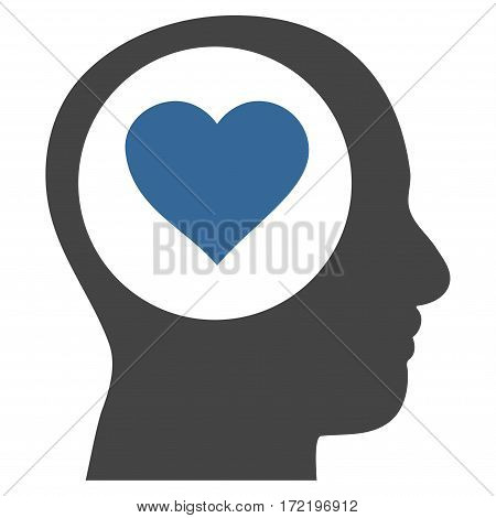 Love Thinking Head flat icon. Vector bicolor cobalt and gray symbol. Pictograph is isolated on a white background. Trendy flat style illustration for web site design logo ads apps user interface.