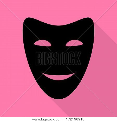 Comedy theatrical masks. Black icon with flat style shadow path on pink background.