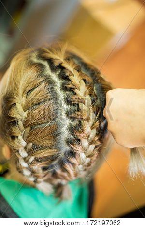 Blonde hair was braided, The braided hair