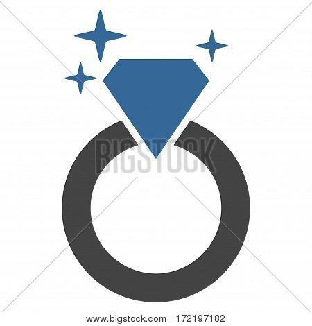 Sparkle Diamond Ring flat icon. Vector bicolor cobalt and gray symbol. Pictogram is isolated on a white background. Trendy flat style illustration for web site design logo ads apps user interface.
