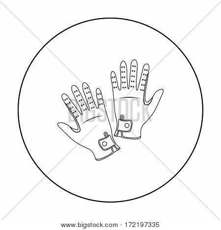 Jockey's gloves icon in outline design isolated on white background. Hippodrome and horse symbol stock vector illustration.