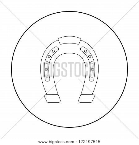 Horseshoe icon in outline design isolated on white background. Hippodrome and horse symbol stock vector illustration.