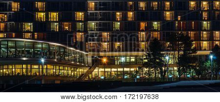 KOLOBRZEG, WEST POMERANIAN / POLAND: At night in the heart of a holiday resort - Holiday Home by the sea