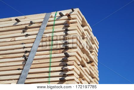 wooden planks wood stack tied for shipping