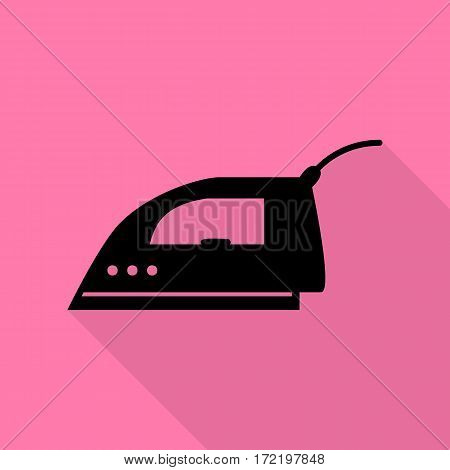 Smoothing Iron sign. Black icon with flat style shadow path on pink background.