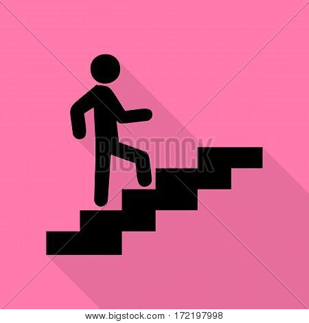 Man on Stairs going up. Black icon with flat style shadow path on pink background.