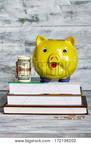 Books and money box. Savings for education.