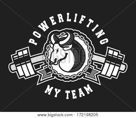 Vector Sport emblem for the gym competitions bull with a barbell exercise equipment black and white