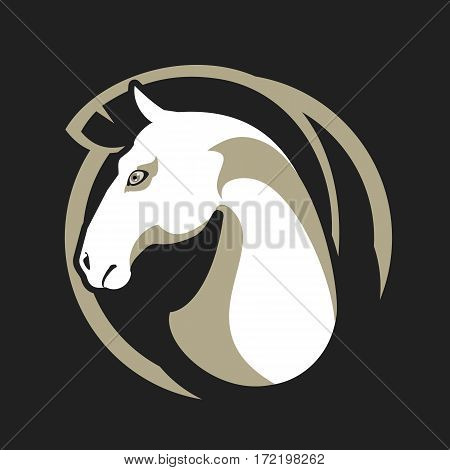 vector logo horse head sign stylized black and white