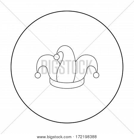 Jester's cap icon in outline style isolated on white background. Hats symbol vector illustration.