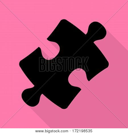 Puzzle piece sign. Black icon with flat style shadow path on pink background.