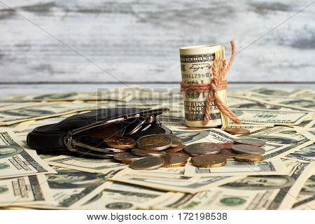 Dollars and purse with coins. Profitable financial bargain.