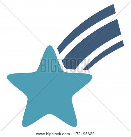 Falling Star flat icon. Vector bicolor cyan and blue symbol. Pictograph is isolated on a white background. Trendy flat style illustration for web site design logo ads apps user interface.