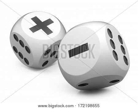 3d white game dices wit plus an minus sign. Illustration isolated on a white background