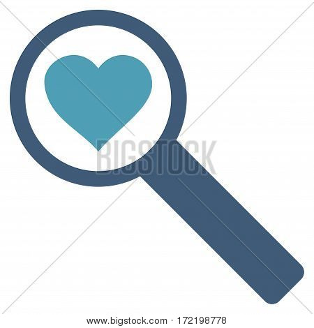 Find Love flat icon. Vector bicolor cyan and blue symbol. Pictograph is isolated on a white background. Trendy flat style illustration for web site design logo ads apps user interface.