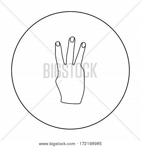 Three fingers icon in outline style isolated on white background. Hand gestures symbol vector illustration.