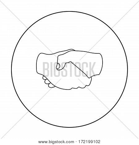 Handshake icon in outline style isolated on white background. Hand gestures symbol vector illustration.