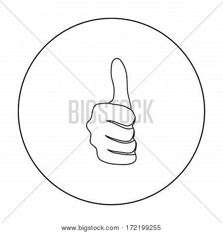 Thumb up icon in outline style isolated on white background. Hand gestures symbol vector illustration.