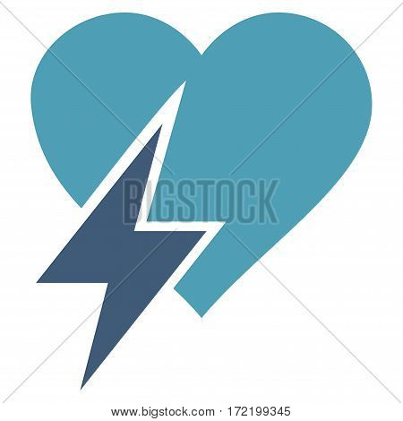 Heart Shock flat icon. Vector bicolor cyan and blue symbol. Pictogram is isolated on a white background. Trendy flat style illustration for web site design logo ads apps user interface.