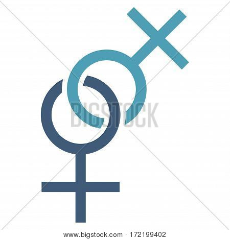 Lesbian Love Symbol flat icon. Vector bicolor cyan and blue symbol. Pictogram is isolated on a white background. Trendy flat style illustration for web site design logo ads apps user interface.